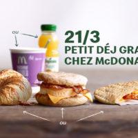 petit-dejeuner gratuit McDonald's