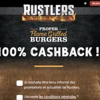 Soyez rembourse pour l'achat d'un burger RUSTLERS