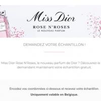 recevez un echantillon gratuit Dior Miss Dior Rose 'N Roses